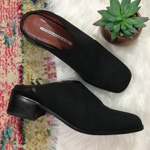 Donald J Pliner • Black Heeled Slip On Mules